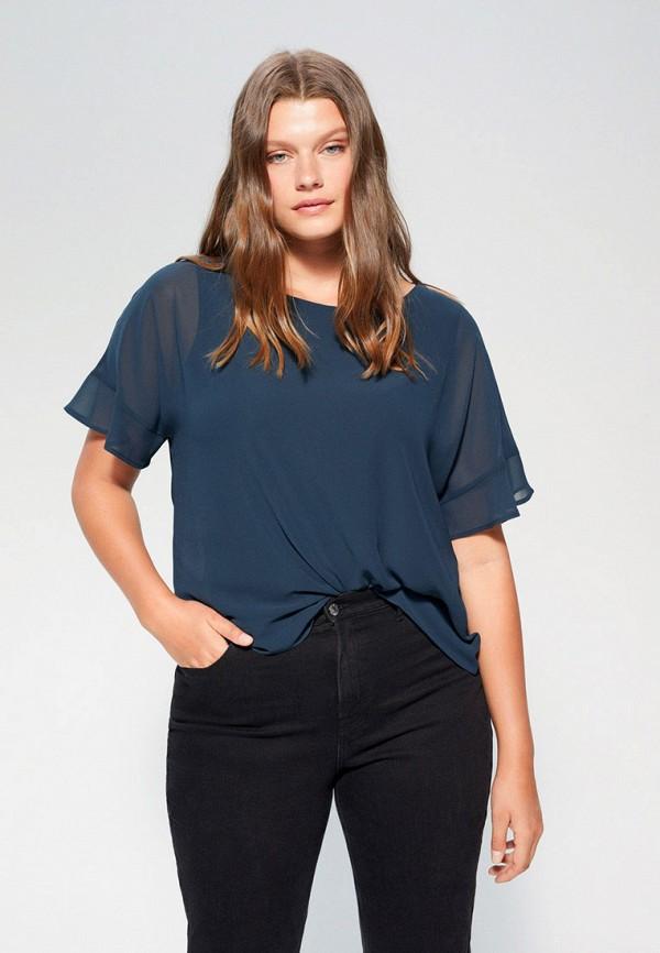 женская блузка с коротким рукавом violeta by mango, синяя