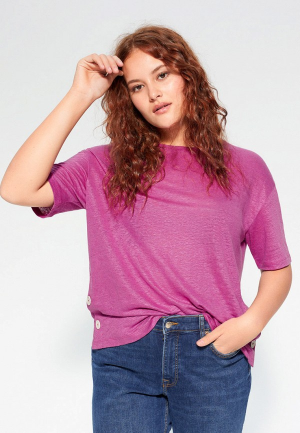 женская футболка violeta by mango, розовая