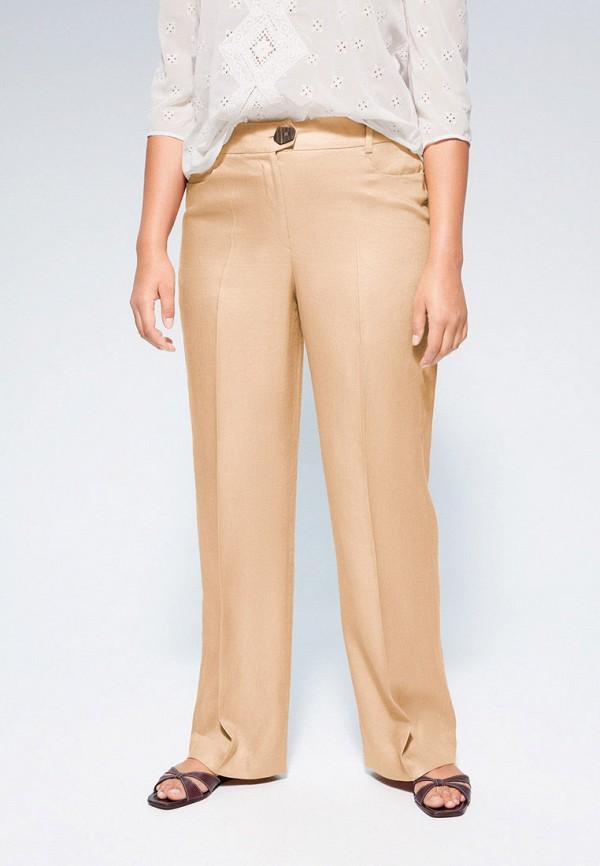 женские прямые брюки violeta by mango, бежевые