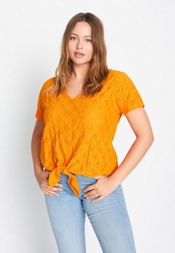 женская футболка с коротким рукавом violeta by mango, оранжевая