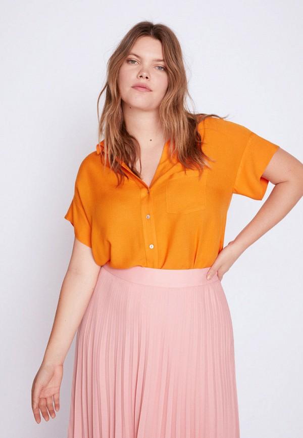 женская блузка violeta by mango, оранжевая