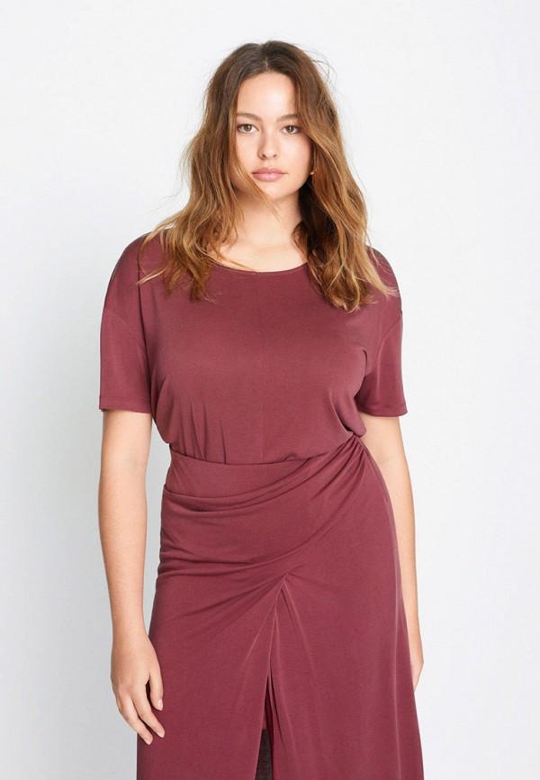 женская футболка violeta by mango, красная