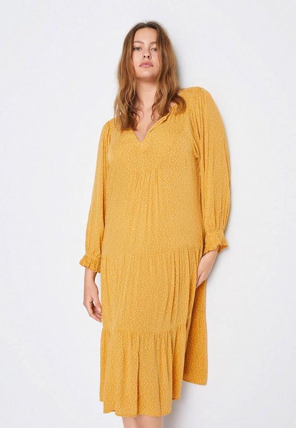 женское повседневные платье violeta by mango, желтое