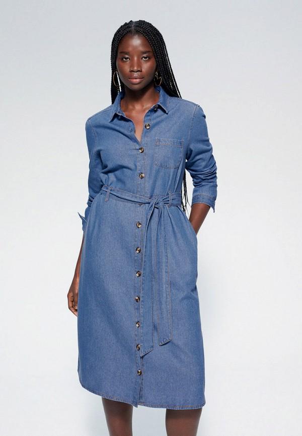 женское платье violeta by mango, синее