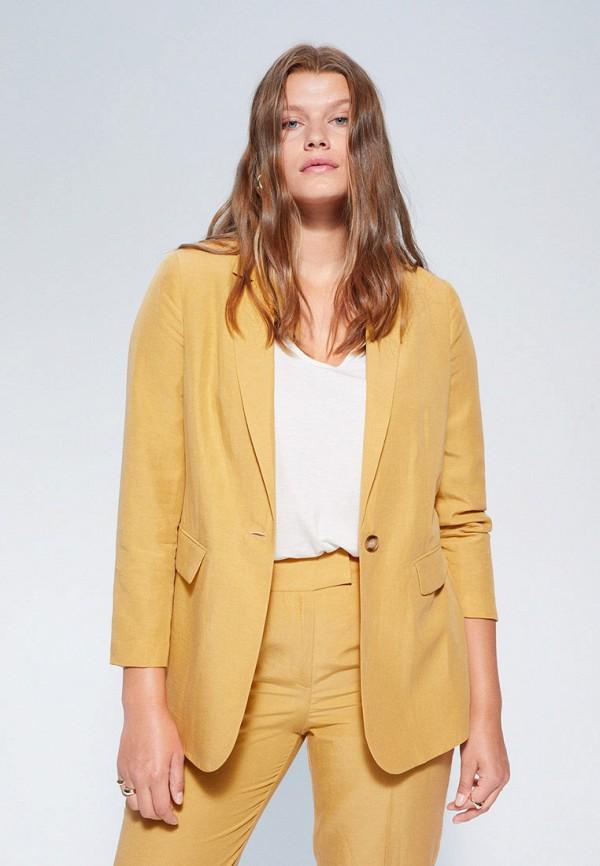 женский пиджак violeta by mango, желтый