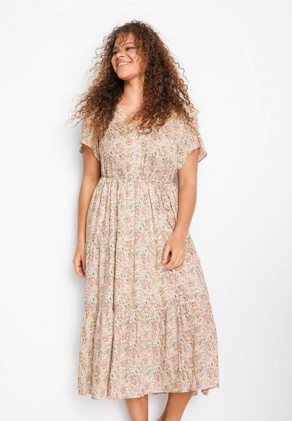 женское повседневные платье violeta by mango, бежевое