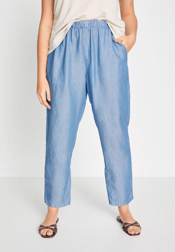 женские прямые брюки violeta by mango, голубые