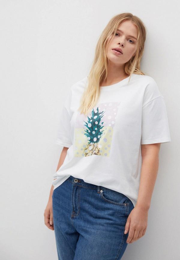 женская футболка violeta by mango, белая
