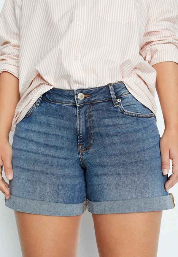 женские джинсовые шорты violeta by mango, голубые