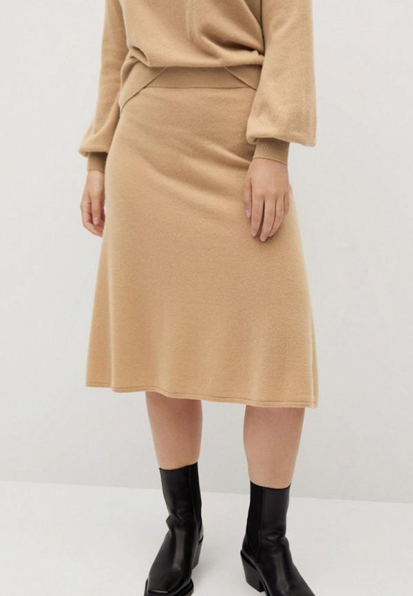 женская прямые юбка violeta by mango, бежевая