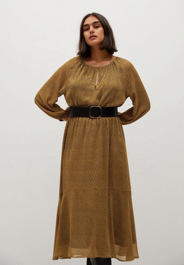 женское повседневные платье violeta by mango, коричневое