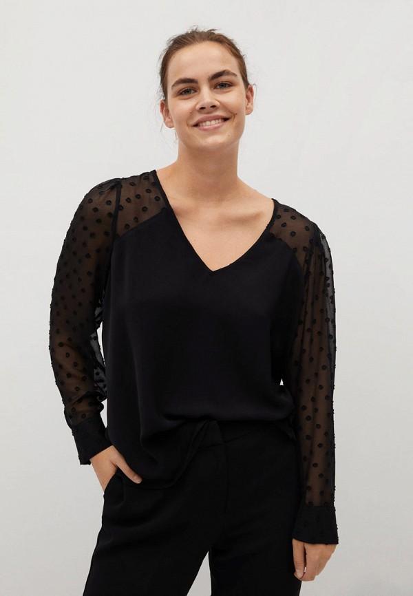 женская блузка violeta by mango, черная