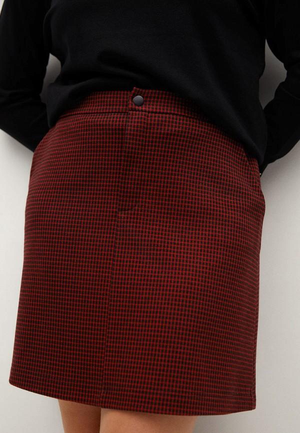 женская прямые юбка violeta by mango, красная