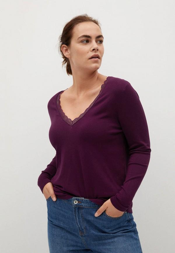 женский пуловер violeta by mango, фиолетовый