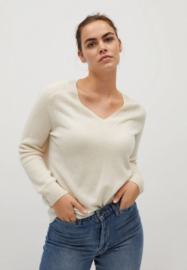 женский пуловер violeta by mango, бежевый