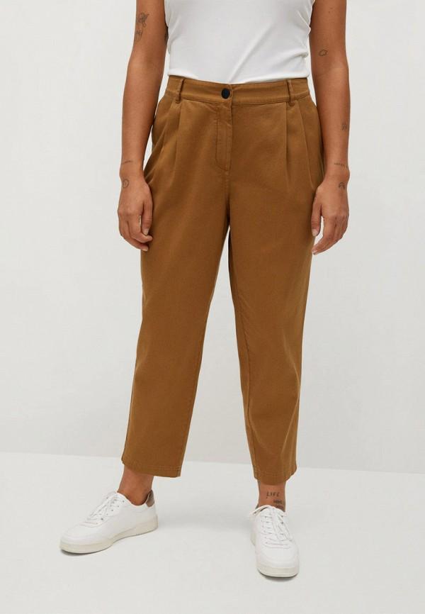 женские прямые брюки violeta by mango, коричневые