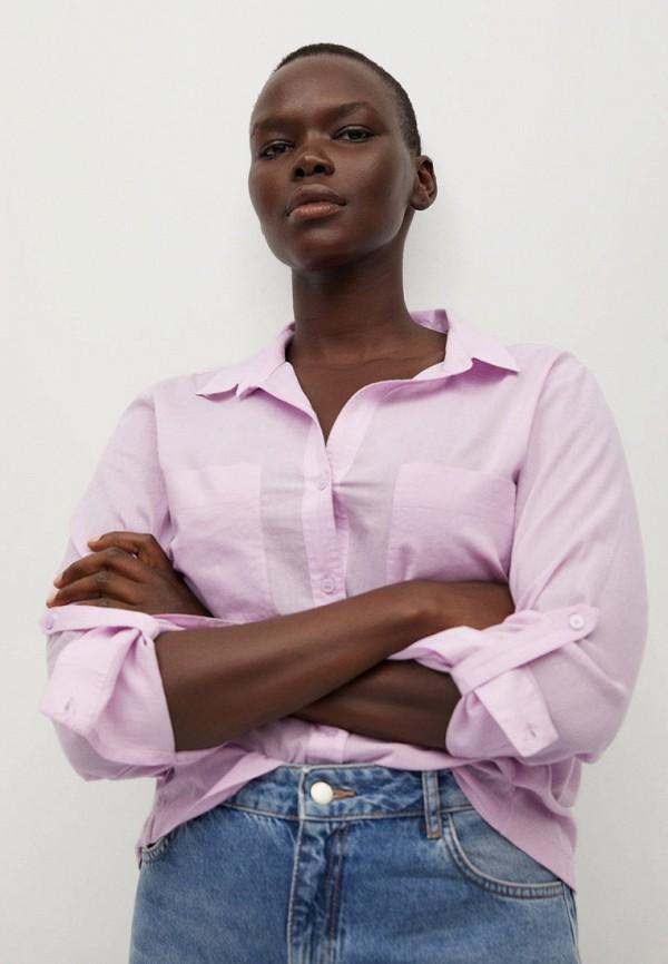 женская рубашка с длинным рукавом violeta by mango, фиолетовая