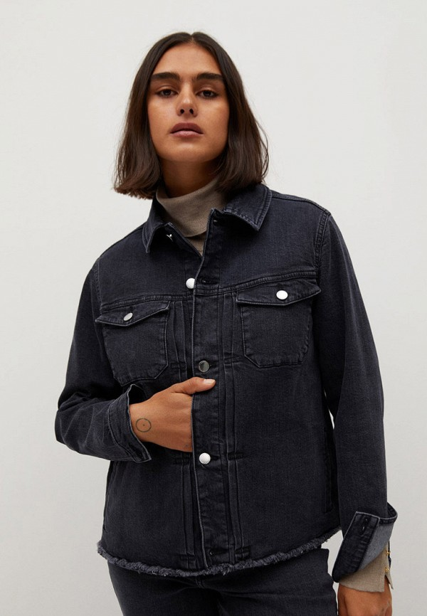 женская джинсовые рубашка violeta by mango, серая