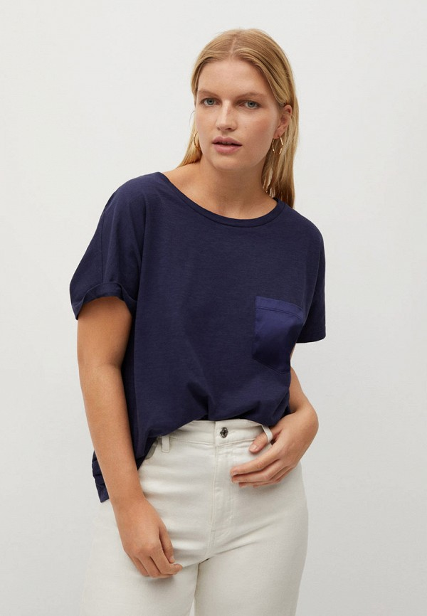 женская футболка violeta by mango, синяя