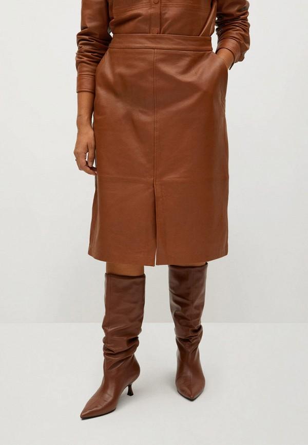 женская юбка violeta by mango, коричневая