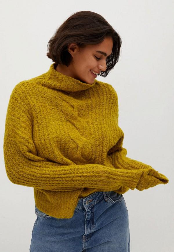 женский свитер violeta by mango, желтый