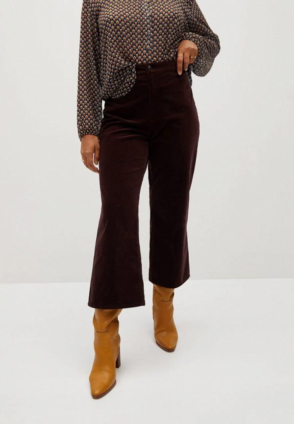 женские брюки клеш violeta by mango, коричневые