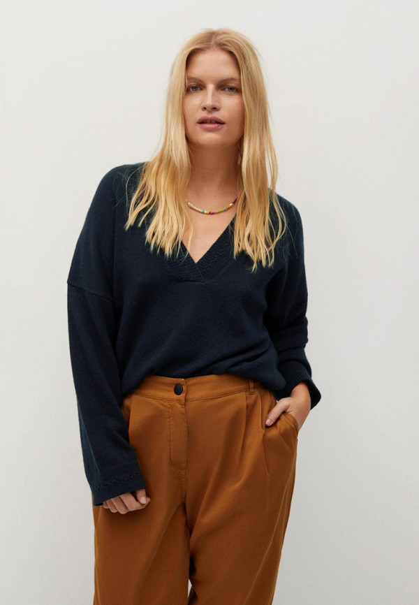 женский пуловер violeta by mango, синий