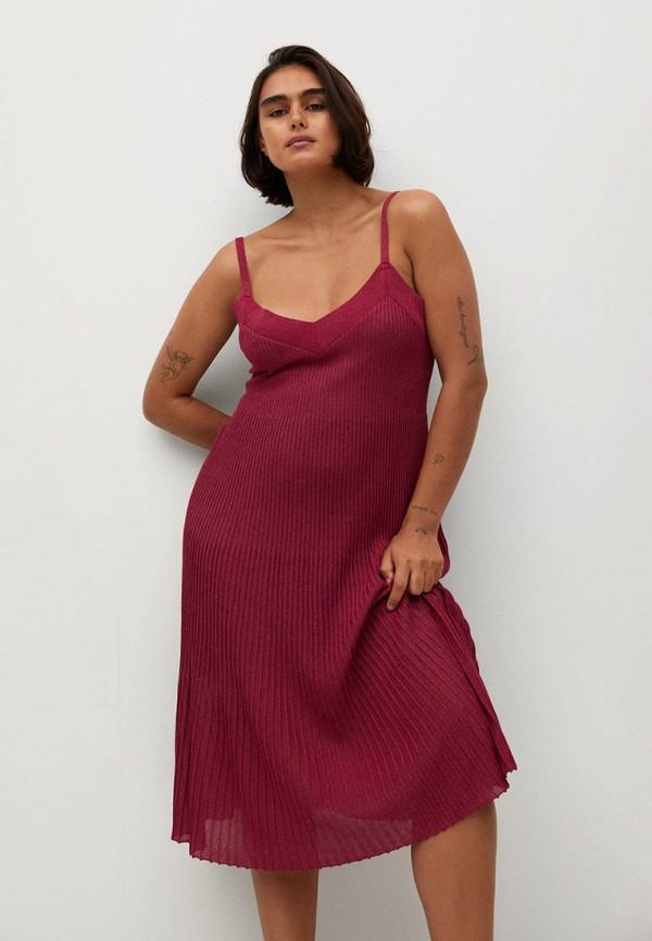 женское вечерние платье violeta by mango, бордовое