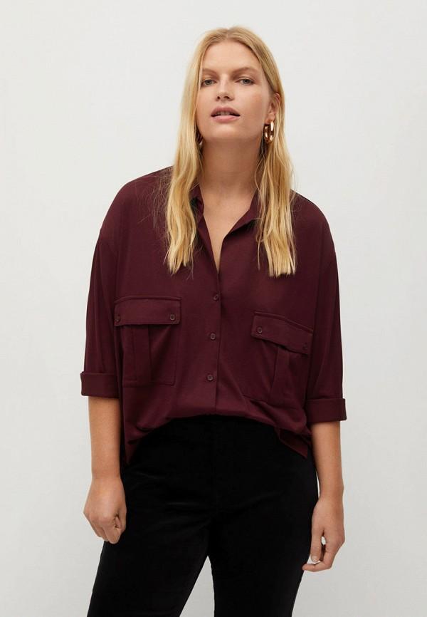 женская рубашка с длинным рукавом violeta by mango, бордовая