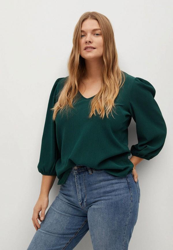 женская блузка violeta by mango, зеленая