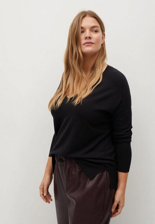 женский пуловер violeta by mango, черный