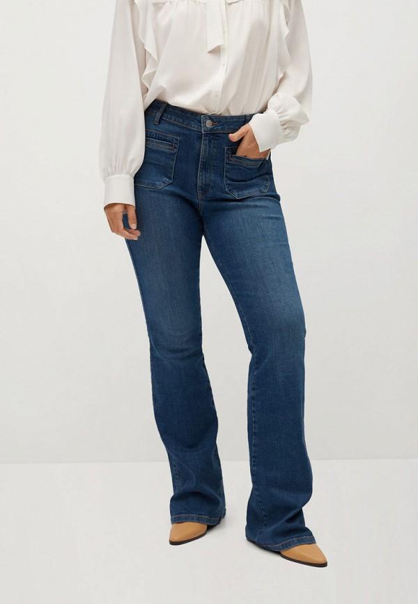 женские джинсы клеш violeta by mango, синие