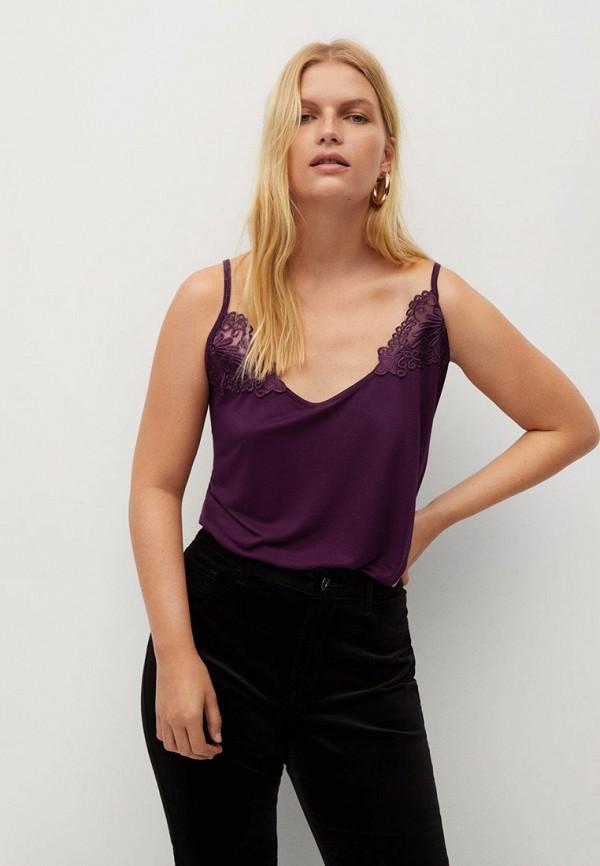женский топ violeta by mango, фиолетовый