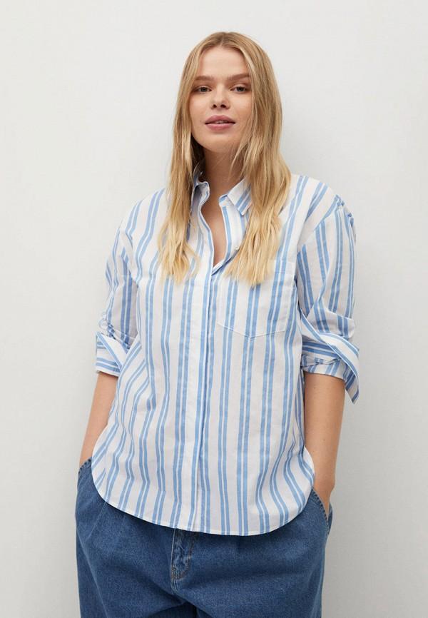 женская рубашка с длинным рукавом violeta by mango, голубая