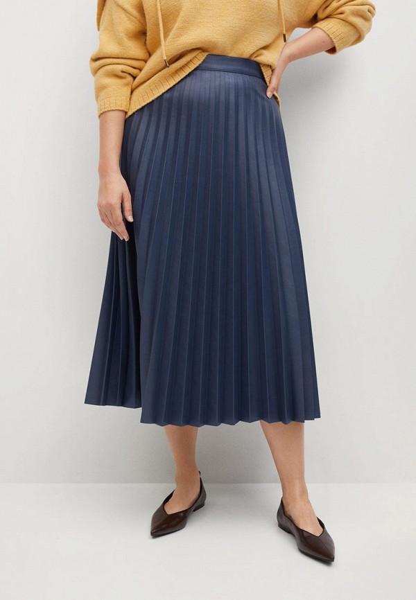 женская юбка violeta by mango, синяя