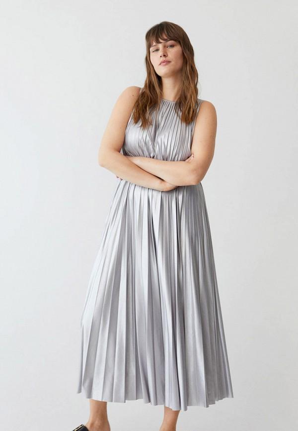 женское повседневные платье violeta by mango, серебряное