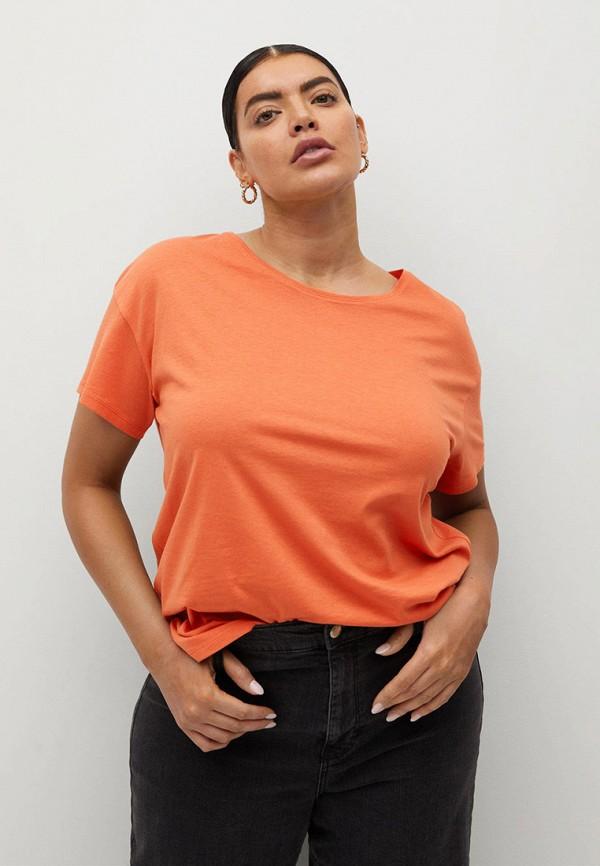 женская футболка violeta by mango, оранжевая