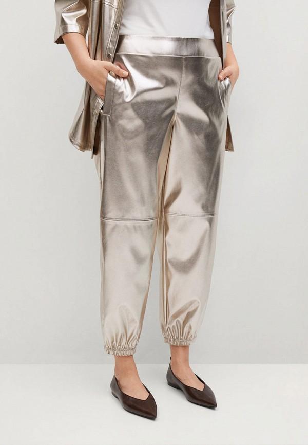 женские зауженные брюки violeta by mango, золотые