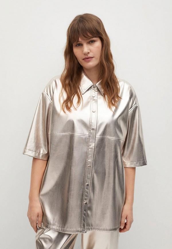 женская рубашка с коротким рукавом violeta by mango, золотая