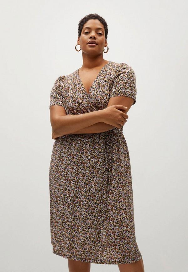 женское платье violeta by mango, коричневое