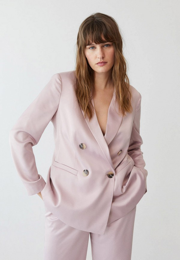 женский пиджак violeta by mango, розовый