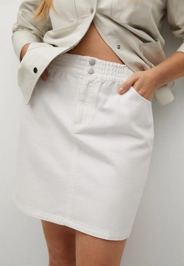 женская джинсовые юбка violeta by mango, белая