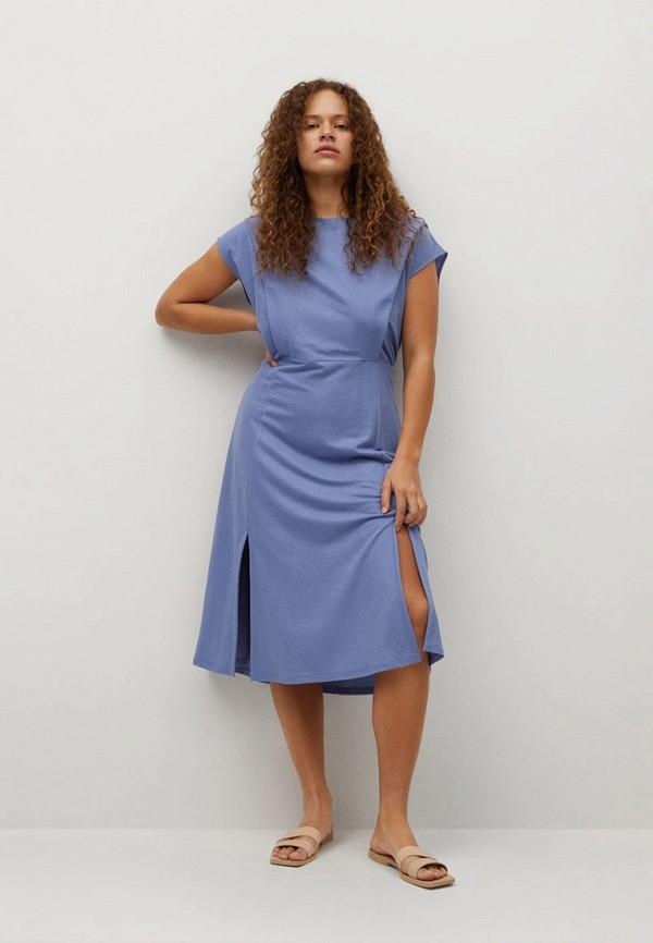 женское повседневные платье violeta by mango, голубое