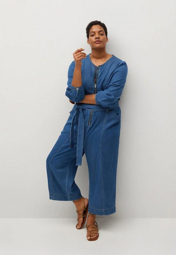 женский джинсовые комбинезон violeta by mango, синий