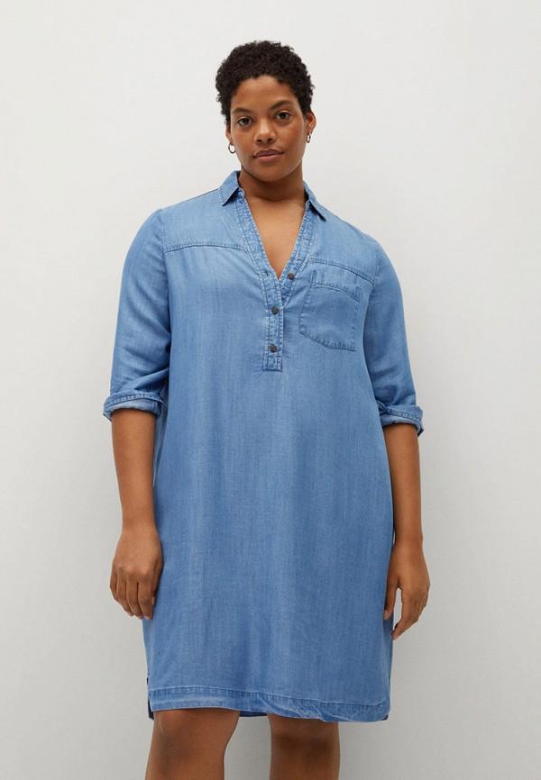 женское джинсовые платье violeta by mango, синее