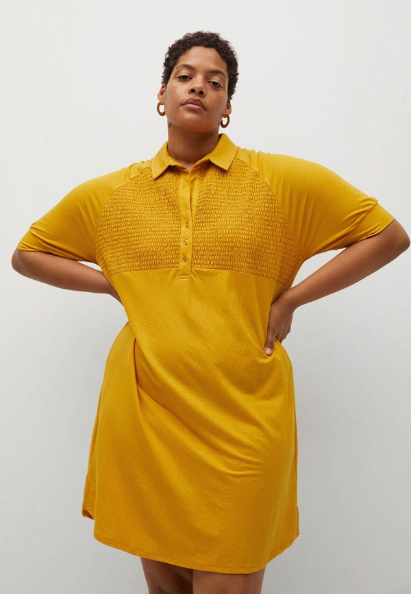 женское платье violeta by mango, желтое