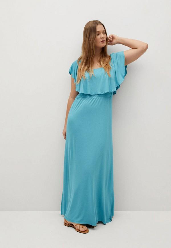 женское платье violeta by mango, голубое