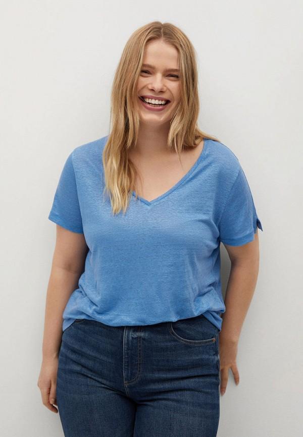 женская футболка violeta by mango, голубая