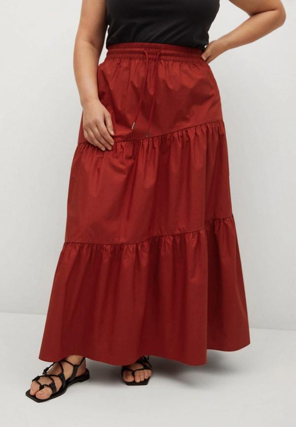 женская юбка violeta by mango, красная