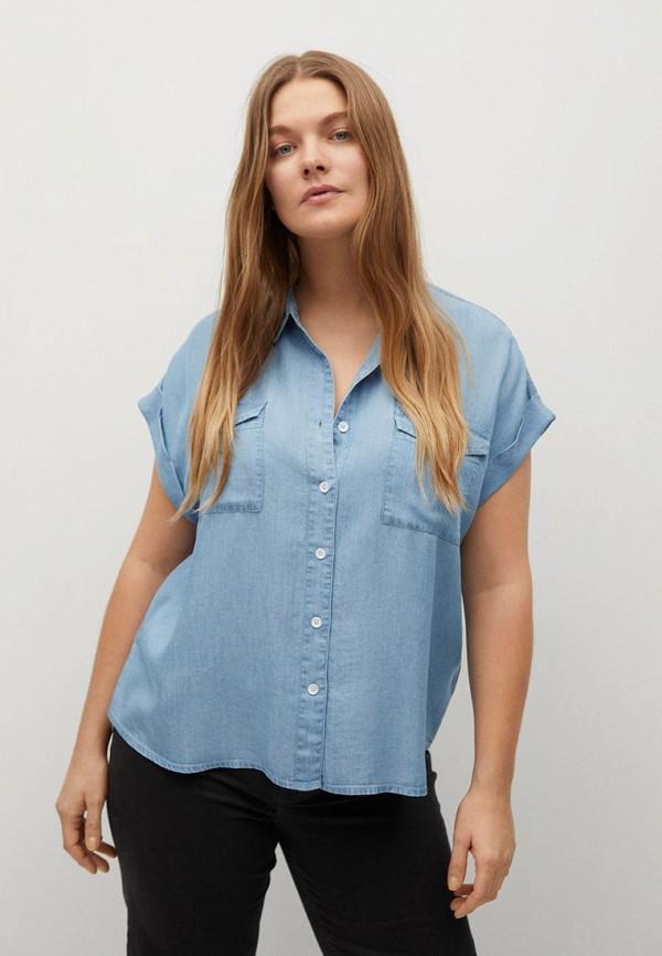 женская джинсовые рубашка violeta by mango, голубая